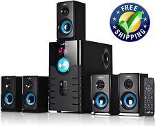 beFree Sound 5.1 Channel Bluetooth Surround Sound Speaker System in Blue.