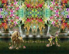 Baumwoll-Jersey Panel Stenzo Märchenwald Einhorn Elfen Blumen bunt 120 x 150 cm