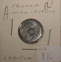 French Indo China  1 Cent 1943 UNC Aluminum