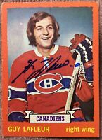 SIGNED 1973-74 TOPPS #72 GUY LAFLEUR MONTREAL CANADIENS ~ EX+ CONDITION