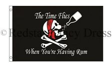 PIRATE FLAG TIME FLIES WHEN YOUR HAVING RUM 5FT X 3FT HIGH QUALITY FLAGS