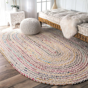 NOMAD Hand Braided Cotton OVAL Area Rug, Ivory Red Multi 150cm x 240cm Nuloom