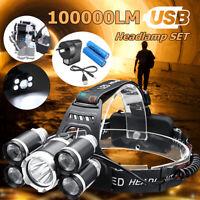 100000LM 5xT6 LED Rechargeable Headlamp 4Mode Headlight 18650 Head Light Lamp