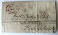1836 Stampless Letter Paid at Leeds Stamp to Huddersfield damp stains