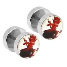 Fakeplugs Motiv Teufel Fake Plug Tunnel Ohrstecker Devil Rot Schwarz Ohrring