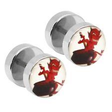1 Paar Fakeplugs Motiv Teufel Fake Plug Tunnel Ohrstecker Devil Rot Schwarz Weiß