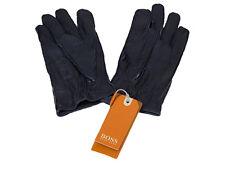 Hugo Boss Lederhandschuhe GR-Gans Gr. 9 dunkelgrau Ziegenleder orange Label Neu