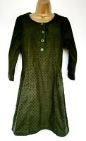 Boden Dress Sz 10 Green Dotted Babycord Casual Vgc!
