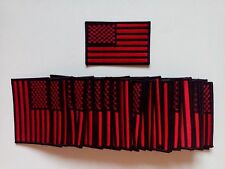 "50 Pcs USA American Flag (Black/Red) (B) iron-on Embroidered Patches 3.5""x2.25"""