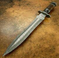 Handmade Damascus Steel Dagger knife, Black Horn and Wood Handle