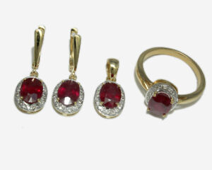 Natural Ruby Stone 14K Yellow Gold Ring, Earrings & Pendant Wedding Jewelry Set