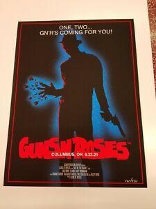 Guns N' Roses Poster Columbus OH 9/23/21 Nightmare on Elm Street Freddy Krueger