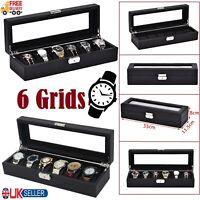6 Slots Watch Box Luxury Wooden & Glass Box Case Wrist Watch Display Tray Velvet