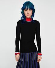 Zara Discontinued Black Ribbed Coloured Ruffled Cuffs and High Neck Top