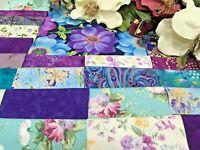 """Botanical Blossoms (purple)"" Pre-cut QUILT KIT- Purple,Aqua, Cream, White"