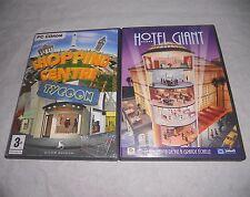 Lot de 2 jeux PC simulation Shopping center tycoon & Hotel Giant en bon etat