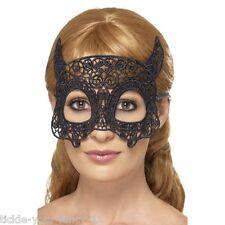 Femme emroidered dentelle noire Filgree diable masque yeux mascarade poule halloween