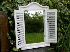 Large Shabby Chic Garden Art Louvre Shutter Door Wooden Wall Mirror 40cm x 60cm