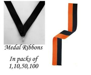 Black And Orange Medal Ribbons with clip Woven in packs of 1,10,50,100