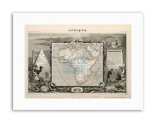 MAPPA antica LEVASSEUR AFRICA Continente STAMPE SU TELA ART