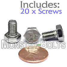 M6-1.0 x 10mm - Qty 20 - DIN 933 HEX CAP BOLT / Screw - Stainless Steel A2-70