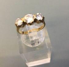 Women's Stylish Three-Stone Trilogy CZ Ring 9ct Gold SizeF 1/2 Hallmarked W2.15g