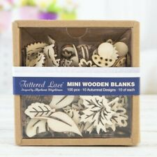 TATTERED LACE Mini Wooden Blanks 100 pc Autumn Design Project Leaves Animals