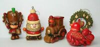 5 Vintage Hallmark Nostalgia Christmas Ornament Wood Look Train Bird Drummer 76