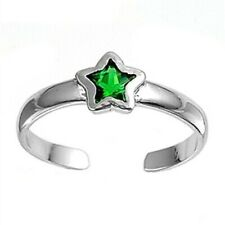 Emerald Rhodium Plate Face Height 5 mm Star Toe Ring Genuine Sterling Silver 925