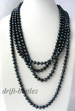 100'' 8mm Round Black Freshwater Pearl Necklace