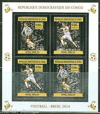CONGO 2013  BRAZIL WORLD CUP SOCCER 2014  SILVER FOIL  MINIATURE SHEET  MINT NH