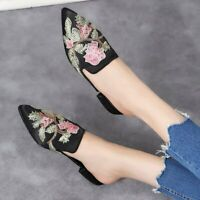 Womens Summer Shoes Embroidery Floral Pointed Toe Flat Heel Mules Slippers