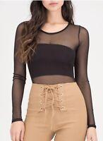New Womens Long Sleeve Sheer Mesh See Through Plain Blouse Top Plus Size T Shirt