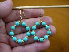 gemstone hoop dangle circle earrings gold Ee-800-21) China Turquoise 6 mm beaded