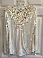Meadow Rue Anthropologie Crochet Boho Ivory Tunic Top Blouse Women's Small S
