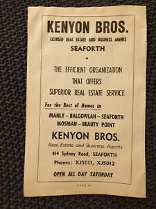 Kenyon Bros Estate Agents, Seaforth - 1954 Advertisement