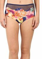 Saha Womens Swimwear Navy Blue Small S Floral Mesh Band Bikini Bottom $58 217