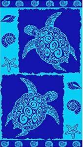 BLUE TURTLE JUMBO EXTRA LARGE BEACH 170x90cm VELOUR EGYPTIAN COTTON