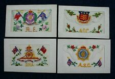 World War 1 Embroidered Silk Postcard WW1 1914- 1918 (4) Four British Army Corps