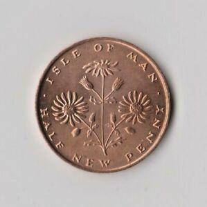RARE 1972 ISLE OF MAN CUSHAG (COMMON RAGWORT) 1/2p COIN. MANX IoM HALF NEW PENCE