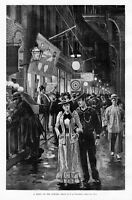 BOWERY AT NIGHT NEW YORK AMUSEMENTS CROWDS TOURISTS PAWNBROKERS SWINDLE FRAUD