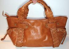 Kooba Solid Brown Natural Leather Handbag w/Studs, Top-Zip & Hand-Sewn Stitching