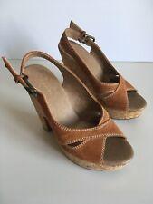 Xhilaration Cork Heel Faux Suede Shoes Size 6 Cognac