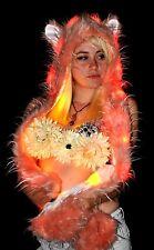 Light Up LED Long Pink Animal Hat - Fuzzy Rave kitty Hood Spirit hood
