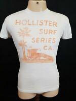 Hollister Men's Crew Neck Tee - Size S - White Cotton - Large Logo