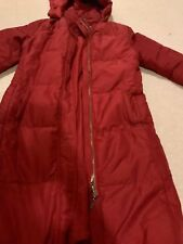 Max Mara Down Jacket Long 8 US Red Coat Puffer Reversible Fitted Hood