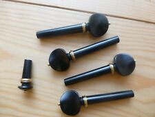 Ebony Violin Pegs And End Pin Set, with Brass Collar and PIN, 4/4 Size!