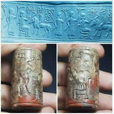sassanian sphinx cylinderseal  with Cultic scene jusper stone old seal bead