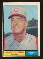 1961 Topps #194 GORDY COLEMAN (Cincinnati Reds) d.1994 *AUTOGRAPHED* Tough