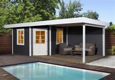 Weka Gartenhaus 28mm Designhaus 213B Gr. 1 + Anbau anthrazit 586x278cm